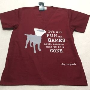 Dog Is Good Fun And Games Cone Scrub Top Funny